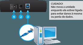 Use o cabo USB para conectar